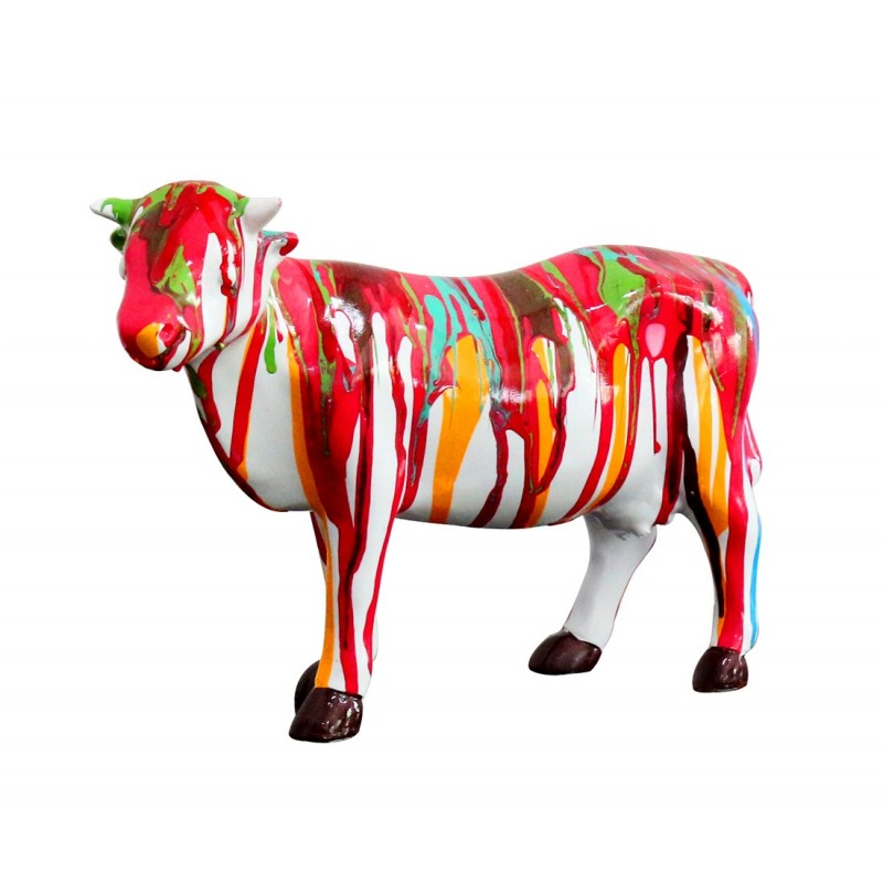 Sculpture vache dcoration multicolore  style design contemporain moderne