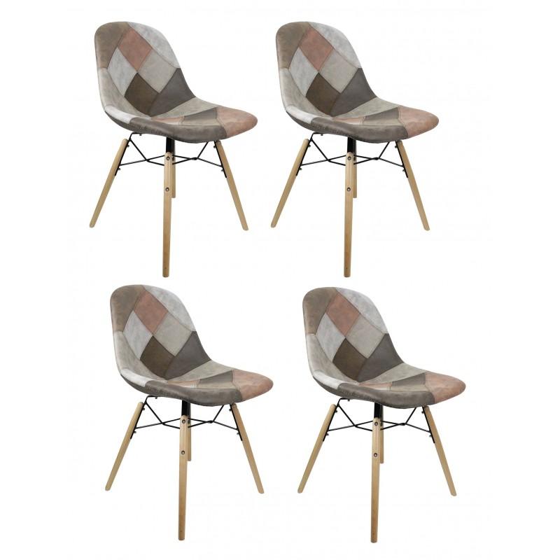 lot 4 chaises patchwork taupe effet vieux cuir doux simon