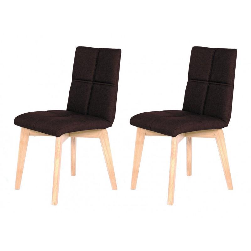 lot 2 chaises scandinave et tissu marron lea