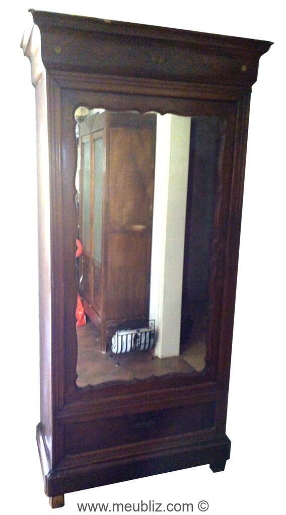 Armoire A Glace Restauration Louis Philippe A Une Porte Et Corniche Plate Meuble De Style