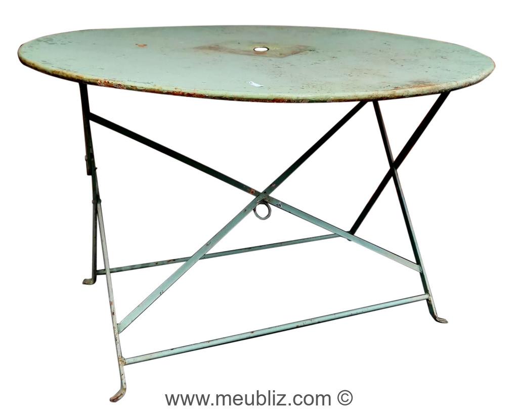 grande table de jardin pliante ronde en