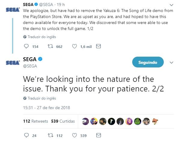 A Sega disponibilizou, por acidente, um jogo completo para download