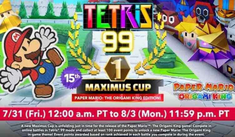 Desbloqueie um tema 'Paper Mario: The Origami King' ao Jogar a Copa Maximus do 'Tetris 99' no 'Nintendo Switch'