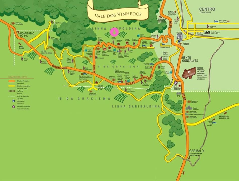 Mapa Vale dos Vinhedos - Vinhos Larentis