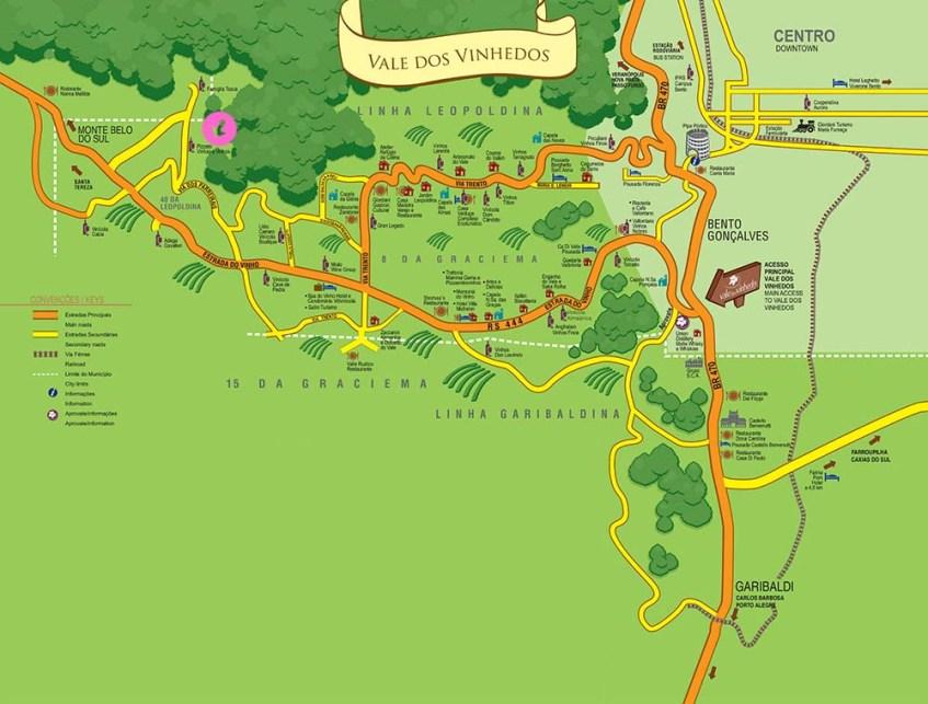 Mapa Vale dos Vinhedos - Vinícola Pizzato