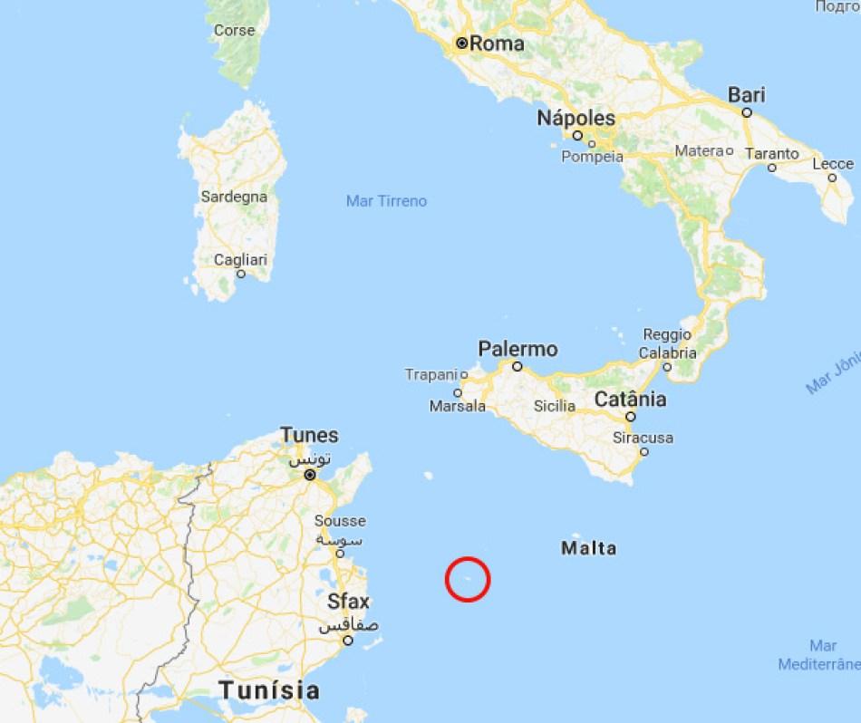 Mapa Lampedusa, Sicília - Itália
