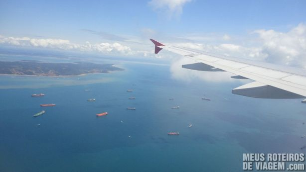 Vista aérea da Baía de Todos os Santos