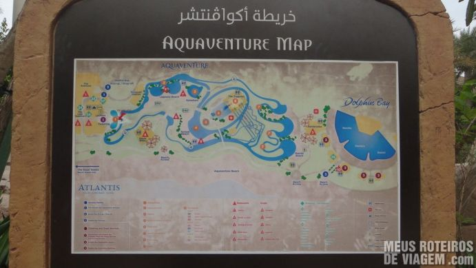 Mapa do Parque aquático Aquaventure - Atlantis The Palm, Dubai