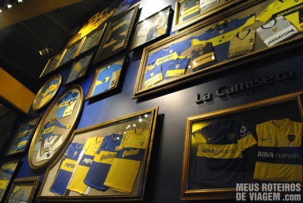 Camisetas do Boca Juniors no museu da Bombonera