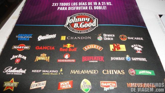 Carta de drinks do Johnny B. Good