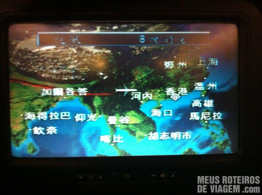 Trajeto do voo para Hong Kong