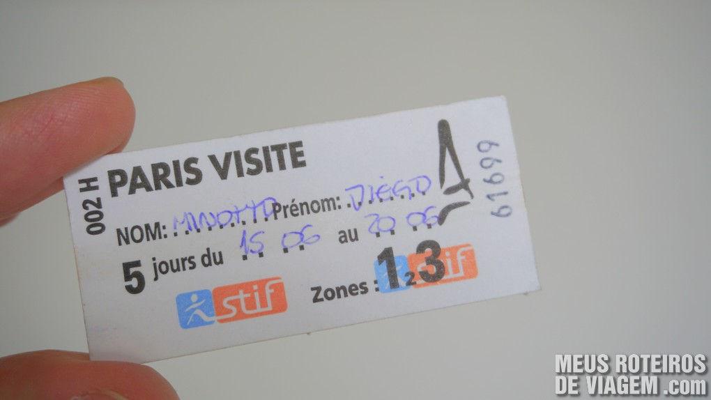 """Passe de transporte público """"Paris Visite"""""""