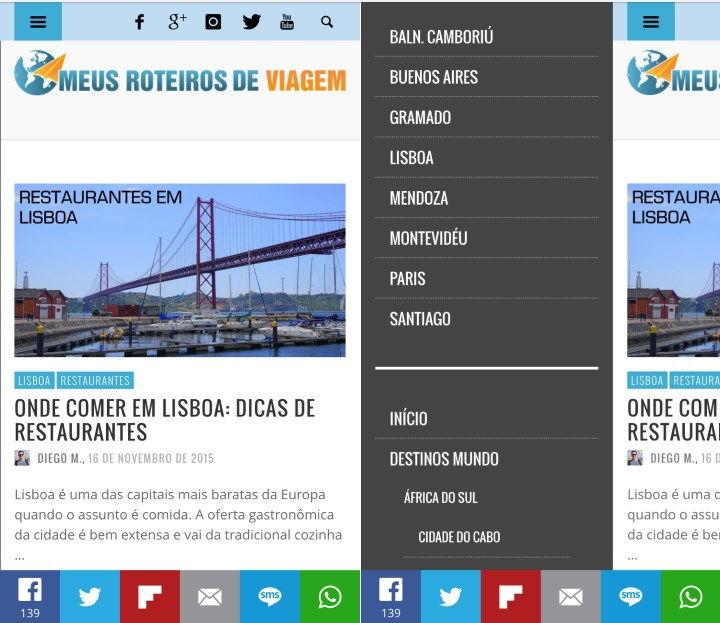 Nova versão mobile na tela principal e com o menu aberto