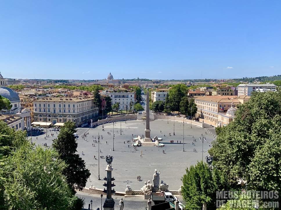 Piazza del Popolo vista do Terraza del Pincio - Roma