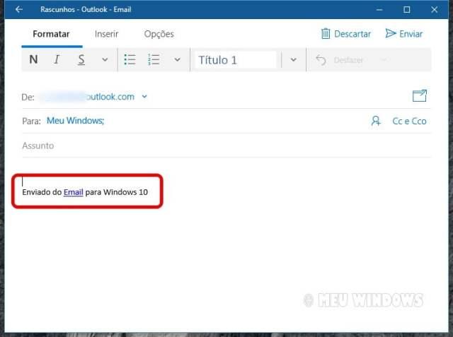 Enviado do Email para Windows 10