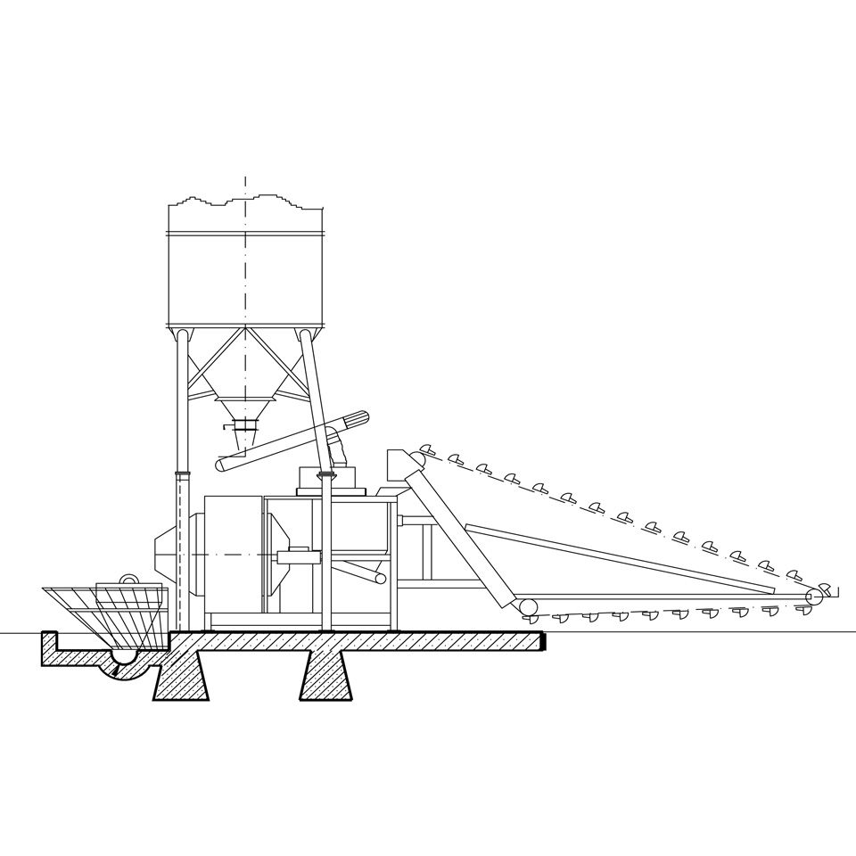 Self-loading concrete batching plant, fitted with