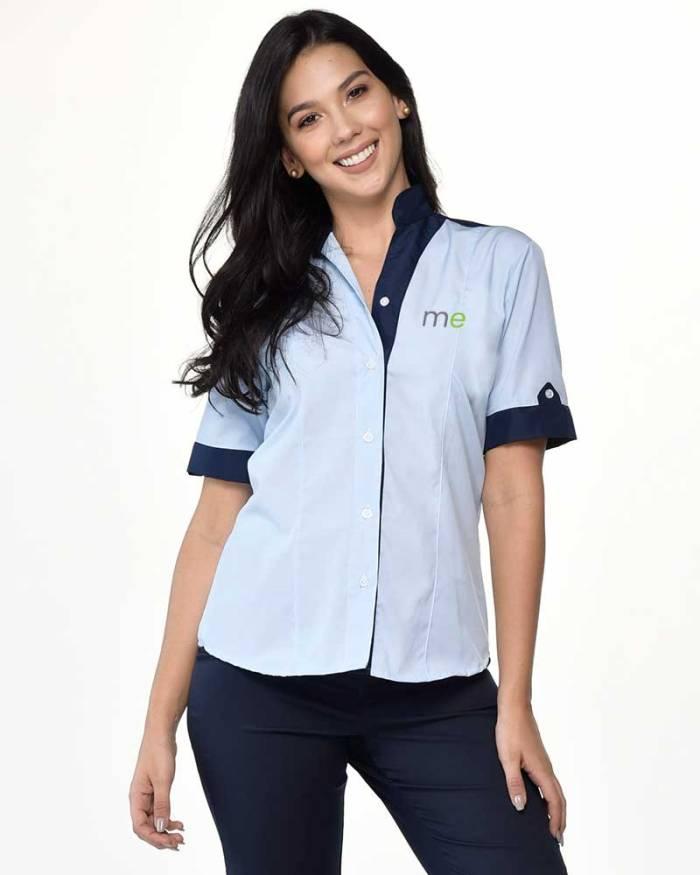 camisa celeste con mangas azul rey m72-4