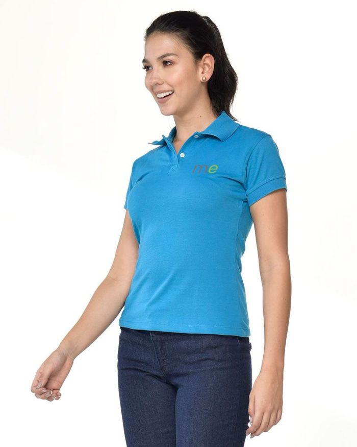camisa tipo polo azul celestre de dama p17-3-