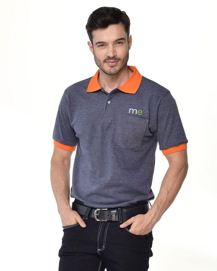 camisa polo gris cuello y mangas naranjas p21-2