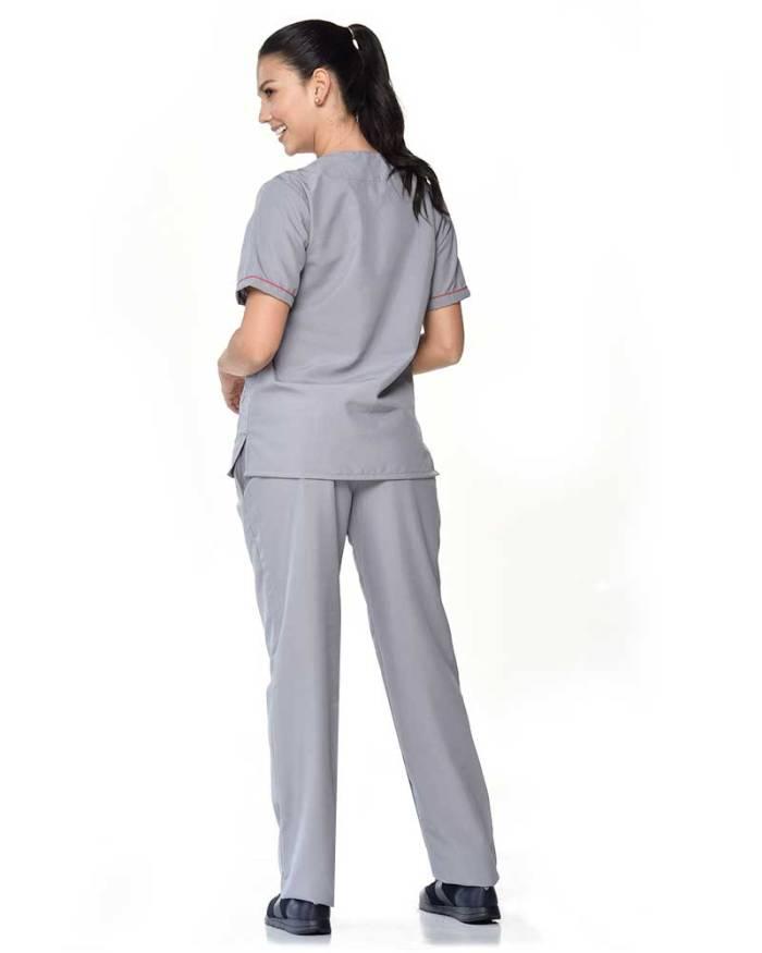 uniforme gris con detalles rojos en mangas antifluido dama s11-2