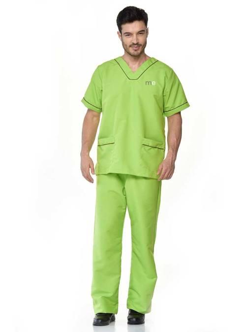 uniforme antifluido de hombre verde limon s14-1