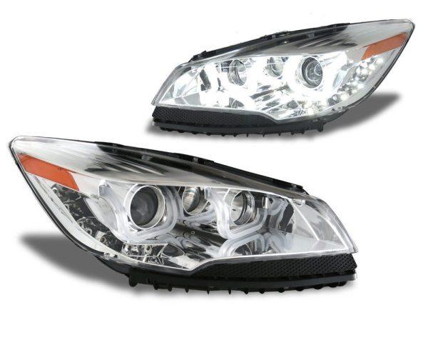 Faros De Lupa + Bara LED Estilo U Cromados Para Ford Escape