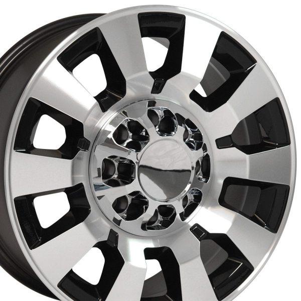 Juego De 4 Rines Negro Mach'd 20x8.5 Para Chevrolet Silverado / GMC Sierra 2500/3500
