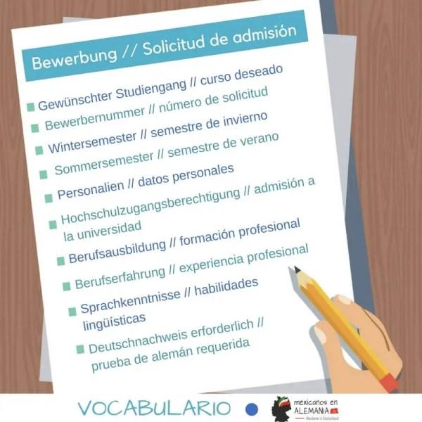 vocabulario en alemán - solicitud de admisión para la universidad