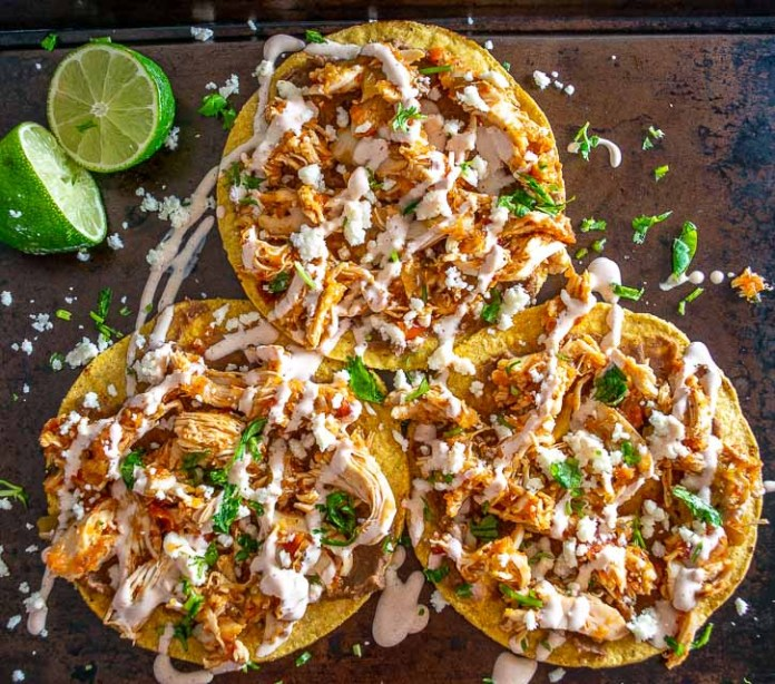 Tostadas de Tinga are such a rewarding meal for the fam! Be sure to add some tomatillos to your Tinga as it makes a huge difference! mexicanplease.com