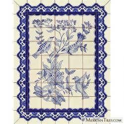 mexican tile pajaros azules