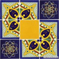 """Mexican Tile - Set of 9 6""""x 6"""" Mexican Talavera Tiles"""