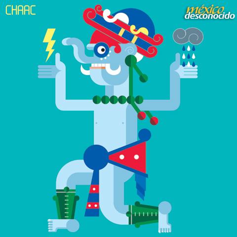 Chaac, dios maya de la lluvia / Ilustración: Oldemar