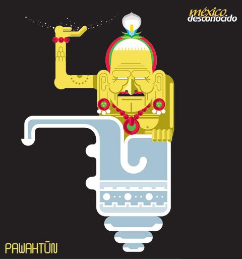 Pawahtún, dios maya cargador del cosmos / Ilustración: Oldemar