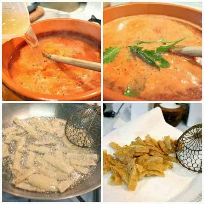 Sopa de Tortilla paso a paso instrucciones