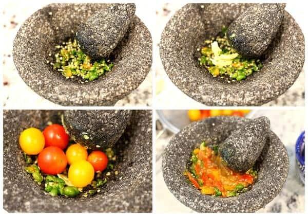 Instrucciones paso a paso, Salsa cruda con tomate milpero