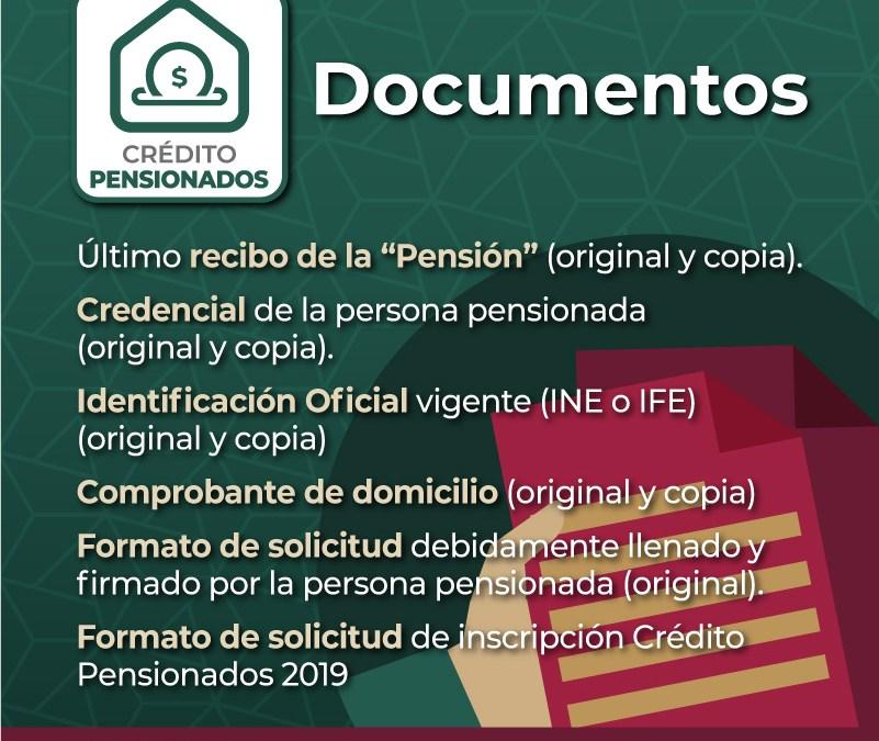 Documentos para solicitar crédito Pensionados Fovissste