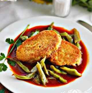 Dried Shrimp Patties in a Red Sauce with Cactus