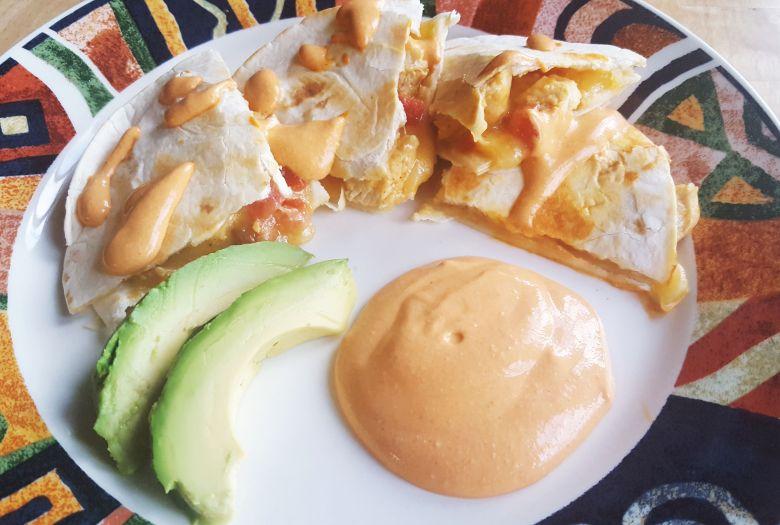 Grilled Chicken Quesadillas with Picante Crema