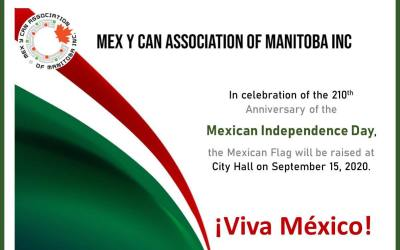 Mexican Flag at the Winnipeg City Hall on September 15, 2020