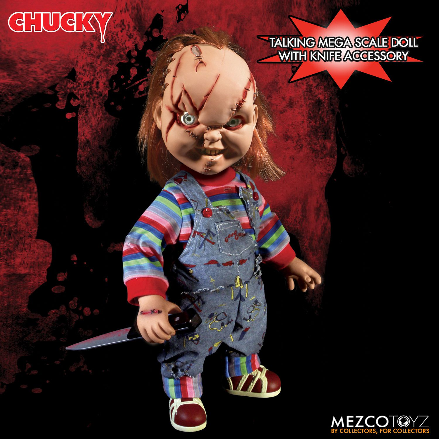 Childs Play Talking Scarred Chucky Doll Reissue  Mezco Toyz