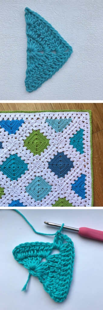 half solid granny square triangle crochet motif turquoise
