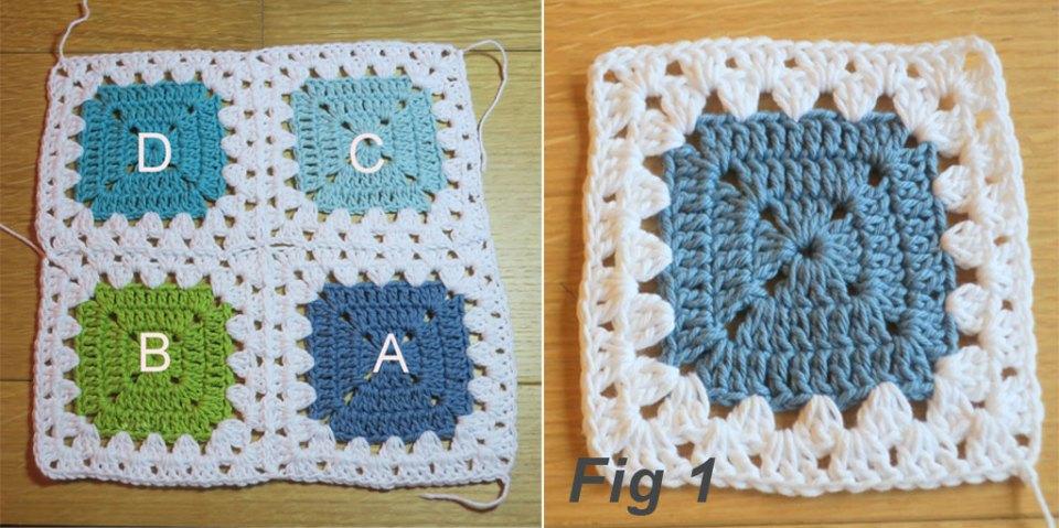 granny stitch crochet border & join layout