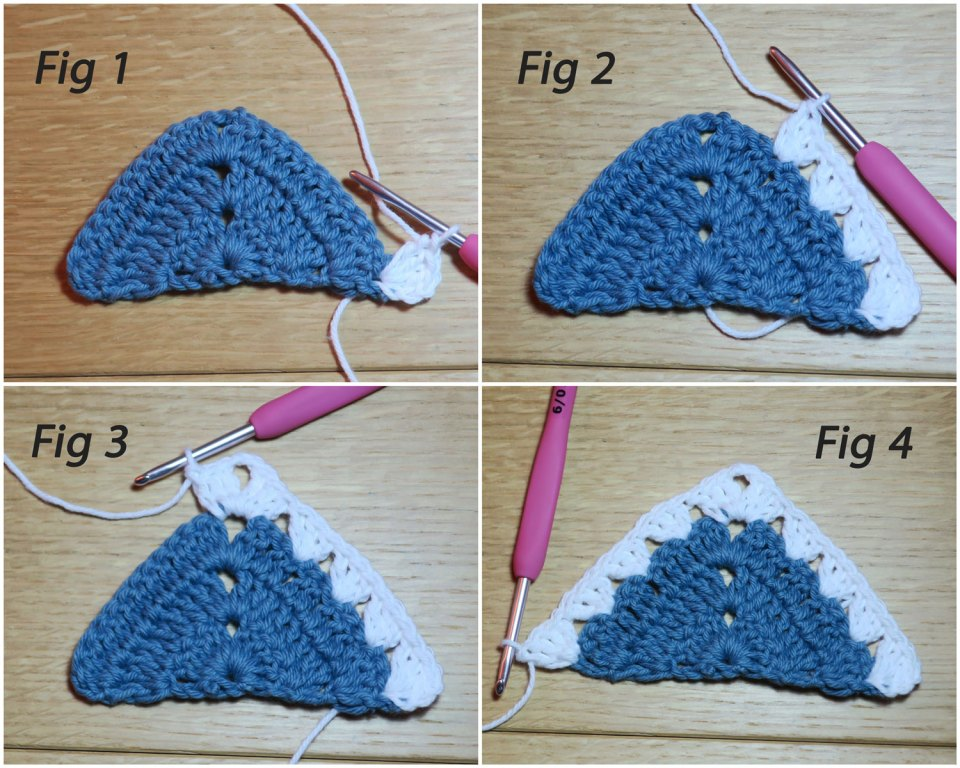 crochet instructions for granny stitch join with half motif