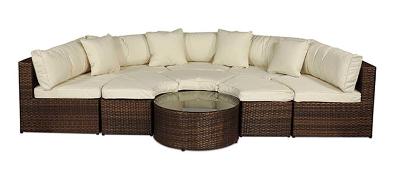 Monaco Round Sofa Set Outdoor Rattan Garden Furniture With Coffee Table EBay