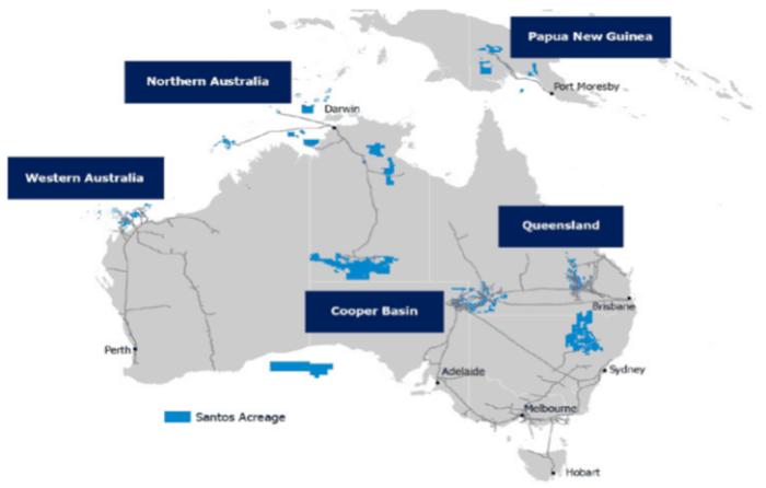Santos Limited (ASX: STO)-Five core Assets Distribution