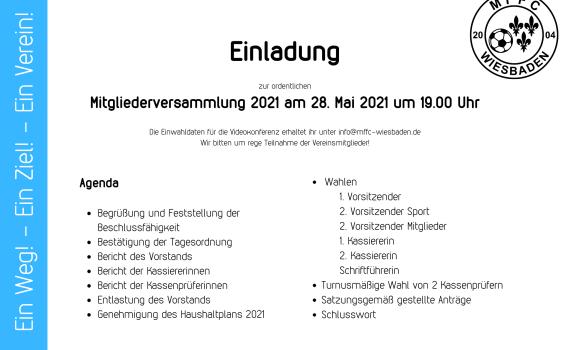 Mitgliederversammlung am 28.05.2021 per Videokonferenz