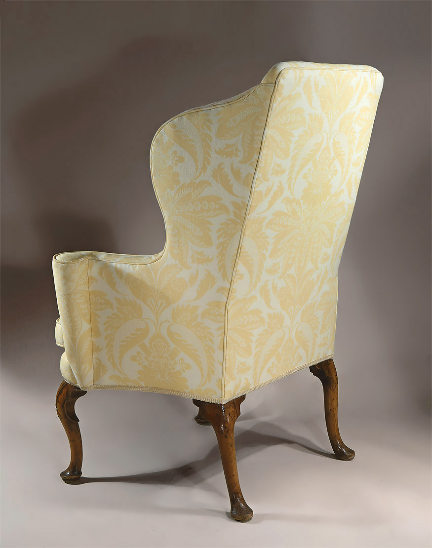 antique high chair cream dining chairs queen anne / george i upholstered walnut wing armchair, england, c1710-1715; m. ford creech antiques