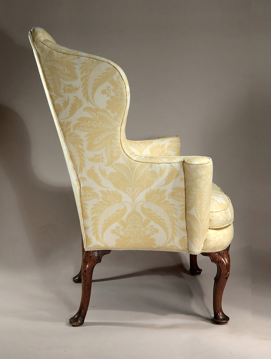 padded high chair bed sleeper target queen anne / george i upholstered walnut wing armchair, england, c1710-1715; m. ford creech antiques