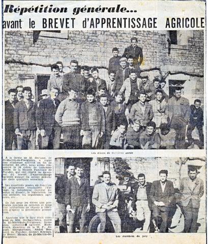 Archives anciens élèves mfr puy-sec 1960 Article 4 rentrées