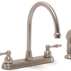 Two Handle Kitchen Faucet White Canisters Premier Wellington With Side Spray Mfs Brushed Nickel
